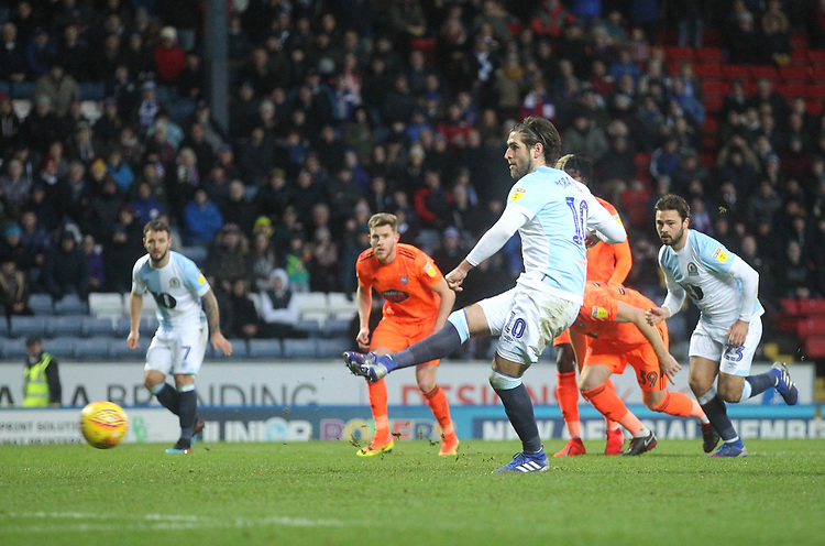 Blackburn Rovers Danny Graham scores his sides first goal   from a penalty<br /> <br /> Photographer Mick Walker/CameraSport<br /> <br /> The EFL Sky Bet Championship - Blackburn Rovers v Ipswich Town - Saturday 19 January 2019 - Ewood Park - Blackburn<br /> <br /> World Copyright &copy; 2019 CameraSport. All rights reserved. 43 Linden Ave. Countesthorpe. Leicester. England. LE8 5PG - Tel: +44 (0) 116 277 4147 - admin@camerasport.com - www.camerasport.com