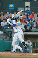 Myrtle Beach Pelicans second baseman Ian Happ (5) at bat during a game against the Frederick Keys at Ticketreturn.com Field at Pelicans Ballpark on April 7, 2016 in Myrtle Beach, South Carolina. Myrtle Beach defeated Frederick 5-2. (Robert Gurganus/Four Seam Images)