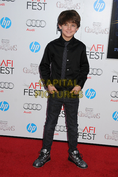 "Max Charles.AFI FEST 2012 ""Rise of the Guardians"" Gala Screening held at Grauman's Chinese Theatre, Hollywood, California, USA..November 4th, 2012.full length black shirt tie jeans denim.CAP/ADM/BP.©Byron Purvis/AdMedia/Capital Pictures."