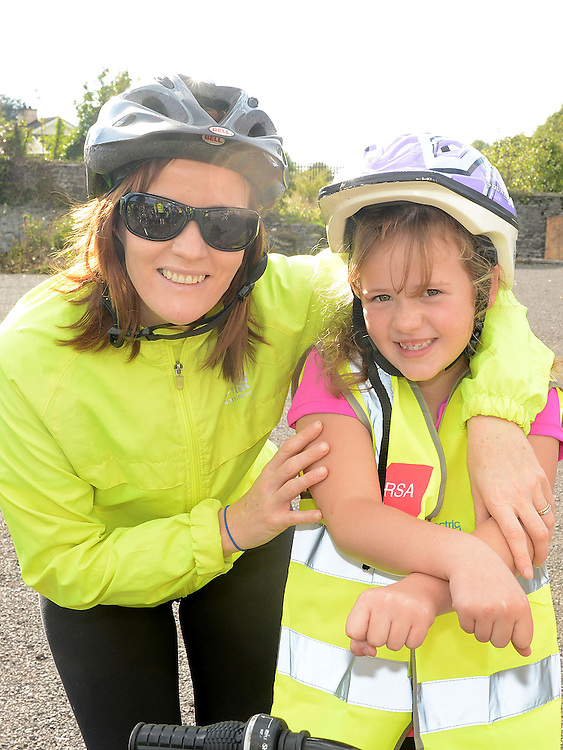 Orla and Clara Hillman who took part in the charity cycle to raise funds towards the new primary school in Duleek. Photo:Colin Bell/pressphotos.ie