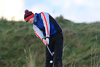 Thomas Higgins (Roscommon) on the 18th tee during Round 3 of the Ulster Boys Championship at Portrush Golf Club, Portrush, Co. Antrim on the Valley course on Thursday 1st Nov 2018.<br /> Picture:  Thos Caffrey / www.golffile.ie<br /> <br /> All photo usage must carry mandatory copyright credit (&copy; Golffile | Thos Caffrey)