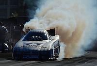 Oct. 28, 2012; Las Vegas, NV, USA: NHRA funny car driver Jack Beckman during the Big O Tires Nationals at The Strip in Las Vegas. Mandatory Credit: Mark J. Rebilas-