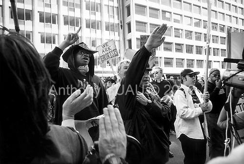 Washington DC, District of Columbia.USA.April 12, 2003..A anti-war rally demonstrators face off against pro-war demonstrators.