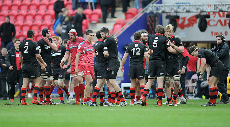 Edinburgh players celebrate at the final whistle<br /> <br /> Photographer Ian Cook/CameraSport<br /> <br /> Rugby Union - Guinness PRO12 - Scarlets v Edinburgh - Saturday 28th March 2015 - Parc y Scarlets - Llanelli<br /> <br /> &copy; CameraSport - 43 Linden Ave. Countesthorpe. Leicester. England. LE8 5PG - Tel: +44 (0) 116 277 4147 - admin@camerasport.com - www.camerasport.com