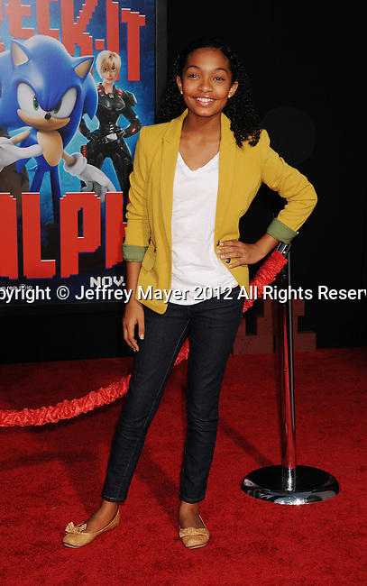 HOLLYWOOD, CA - OCTOBER 29: Yara Shahidi arrives at the Los Angeles premiere of 'Wreck-It Ralph' at the El Capitan Theatre on October 29, 2012 in Hollywood, California.