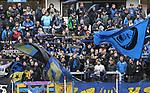 Saarbr&uuml;cker Fans  beim Spiel in der Regionalliga Suedwest, 1. FC Saarbruecken - Wormatia Worms.<br /> <br /> Foto &copy; PIX-Sportfotos *** Foto ist honorarpflichtig! *** Auf Anfrage in hoeherer Qualitaet/Aufloesung. Belegexemplar erbeten. Veroeffentlichung ausschliesslich fuer journalistisch-publizistische Zwecke. For editorial use only.