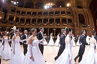 0802020286c Dress rehearsal of the 13th Budapest Opera Ball held at Opera House involving 50 couples of debutantes performing the opening waltz. Budapest, Hungary. Saturday, 02. February 2008. ATTILA VOLGYI