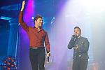 Singers David Bisbal (L) and Luis Fonsi during La Voz in concert.July 11, 2019. (ALTERPHOTOS/Johana Hernandez)