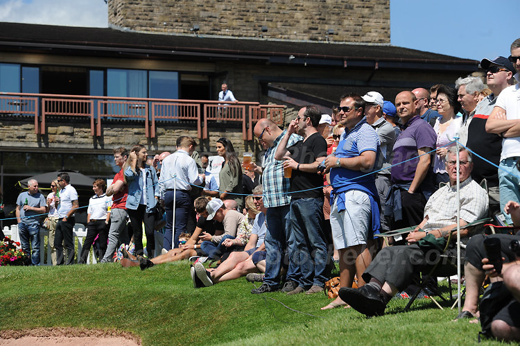 Supporters watching from the clubhouse and the 9th green during The 2017 Celebrity Cup at the Celtic Manor Resort, Newport, South Wales, 01.07.2017<br /> <br /> <br /> Jeff Thomas Photography -  www.jaypics.photoshelter.com - <br /> e-mail swansea1001@hotmail.co.uk -<br /> Mob: 07837 386244 -