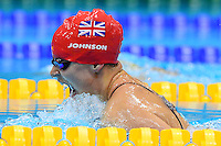 PICTURE BY ALEX BROADWAY /SWPIX.COM - 2012 London Paralympic Games - Day Seven - Swimming, Aquatic Centre, Olympic Park, London, England - 05/09/12 - Elizabeth Johnson of Great Britain competes in the Women's 100m Breaststroke SB6 Final.