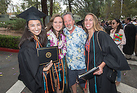 Savannah Berry and her father, center. The class of 2015 graduates during Occidental College's 133rd Commencement, the Remsen Bird Hillside Theater, on Sunday, May 17, 2015.<br />
