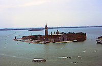 Venice:  From the Campanile-- San Giorgio Maggiore, a 16th century Benedictine monastery on an island of same name. Designed by Palladio 1556.  Scamozzi  designed facade in 1610.  Photo '83.