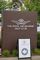 The Royal Melbourne Golf Club sign during the First Round - Four Ball of the Presidents Cup 2019, Royal Melbourne Golf Club, Melbourne, Victoria, Australia. 12/12/2019.<br /> Picture Thos Caffrey / Golffile.ie<br /> <br /> All photo usage must carry mandatory copyright credit (© Golffile | Thos Caffrey)