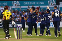 Simon Harmer of Essex celebrates taking the wicket of Jim Allenby during Essex Eagles vs Somerset, NatWest T20 Blast Cricket at The Cloudfm County Ground on 13th July 2017