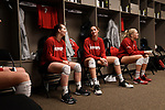 KANSAS CITY, MO - DECEMBER 16: Sydney Townsend (7) and Allie Havers (22) of the University of Nebraska pass time in the Nebraska locker room before the Division I Women's Volleyball Championship held at Sprint Center on December 16, 2017 in Kansas City, Missouri. (Photo by Jamie Schwaberow/NCAA Photos via Getty Images)