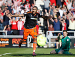 Leon Clarke of Sheffield Utd celebrates scoring the equalising goal during the English League One match at Sixfields Stadium Stadium, Northampton. Picture date: April 8th 2017. Pic credit should read: Simon Bellis/Sportimage