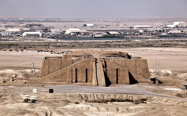 SOUTHERN IRAQ 18 AUGUST 2010:  The Ziggurat of Ur   near Nasiriyah in the present-day Dhi Qar Province, Iraq is located on the very edge of Contingency Operating Base Adder airbase (at rear) in Southern IraqThe members of the 4/2 Strykers Brigades passed nearby in a convoy en-route to the Kuwait border where they will be packing up and heading back to the USA.  Iraq is preparing after US President Barack Obama has confirmed the end of all combat operations in the country by 31 August..Some 50,000 of 65,000 US troops currently in Iraq are set to remain until the end of 2011 to advise Iraqi forces and protect US interests.The remaining 50,000 troops will stay in the country in order to train Iraqi security forces, conduct counterterrorism operations and provide civilians with ongoing security, said Mr Obama..An agreement negotiated with the Iraqis in 2008 states that these troops must be gone from the country by the end of next year. pic Graham Crouch/The Guardian