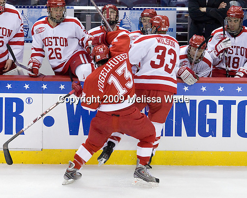 Luke Popko (BU - 26), Vinny Saponari (BU - 27), Chris Connolly (BU - 12), Chris Higgins (BU - 10), Brandon Yip (BU - 18) - Trent Vogelhuber (Miami - 13), Colin Wilson (BU - 33) - The Boston University Terriers defeated the Miami University RedHawks 4-3 in overtime to win the 2009 NCAA D1 National Championship at the Frozen Four on Saturday, April 11, 2009, at the Verizon Center in Washington, DC.