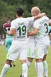 29.07.2017, Fritz Detmar Stadion, Lohne, GER, FSP SV Werder Bremen (GER) vs WestHam United (ENG), <br /> <br /> im Bild<br /> Jubel nach dem 1 zu 0 durch Luca Caldirola (Werder Bremen #3) mit Florian Kainz (Werder Bremen #7) Yuning Zhang (Neuzugang SV Werder Bremen #19)<br /> <br /> Foto &copy; nordphoto / Kokenge