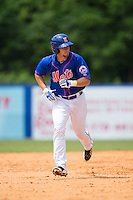 Patrick Mazeika (19) of the Kingsport Mets hustles towards third base against the Greeneville Astros at Hunter Wright Stadium on July 7, 2015 in Kingsport, Tennessee.  The Mets defeated the Astros 6-4. (Brian Westerholt/Four Seam Images)