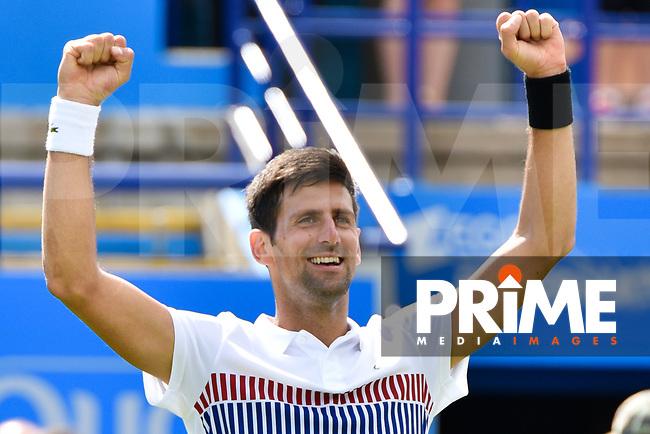 Novak Djokovic, Championship Winner Celebrates winning the match in the mens singles final match between Novak Djokovic v Gael Monfils during the Eastbourne International tennis FINALS at Devonshire Park, Eastbourne, England on 1 July 2017. Photo by Edward Thomas.