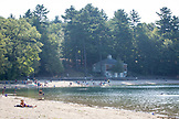 MASSACHUSETTS, Concord, Locals swimming and sunbathing at Walden Pond
