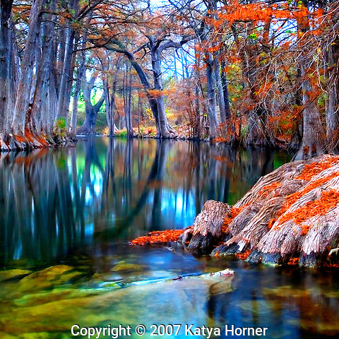 The peaceful Guadalupe River in Hunt, Texas outside of Kerrville on a slightly misty morning.  Beautiful foliage on the cypress trees provide an eye-catching canopy.