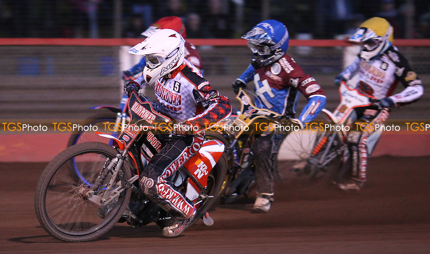 Heat 9: Linus Sundstrom (white), Kim Nilsson (blue), Davey Watt (red) and Richard Lawson (yellow) - Lakeside Hammers vs Peterborough Panthers, Elite League Speedway at the Arena Essex Raceway, Pufleet - 11/05/12 - MANDATORY CREDIT: Rob Newell/TGSPHOTO - Self billing applies where appropriate - 0845 094 6026 - contact@tgsphoto.co.uk - NO UNPAID USE..