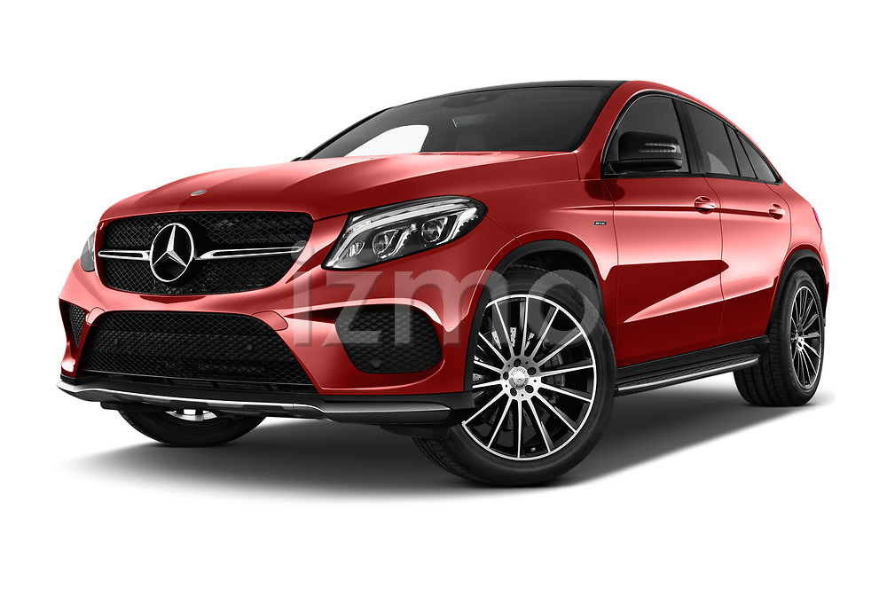 Stock pictures of low aggressive front three quarter view of 2017 Mercedes Benz GLE-Coupe AMG-43 2 Door SUV Low Aggressive