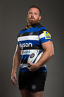 Henry Thomas poses for a photo during a Bath Rugby photoshoot on August 9, 2017 at Farleigh House in Bath, England. Photo by: Rogan Thomson for Onside Images