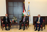 Palestinian President Mahmoud Abbas meets with the Prime Minister of Malta in the West Bank city of Bethlehem, on December 24, 2019. Photo by Thaer Ganaim