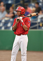 Clearwater Threshers shortstop J.P. Crawford (2) on deck during a game against the Tampa Yankees on June 26, 2014 at Bright House Field in Clearwater, Florida.  Clearwater defeated Tampa 4-3.  (Mike Janes/Four Seam Images)