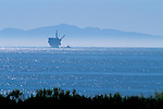 Offshore oil drilling rig in Santa Barbara Channel, Pacific Ocean, California