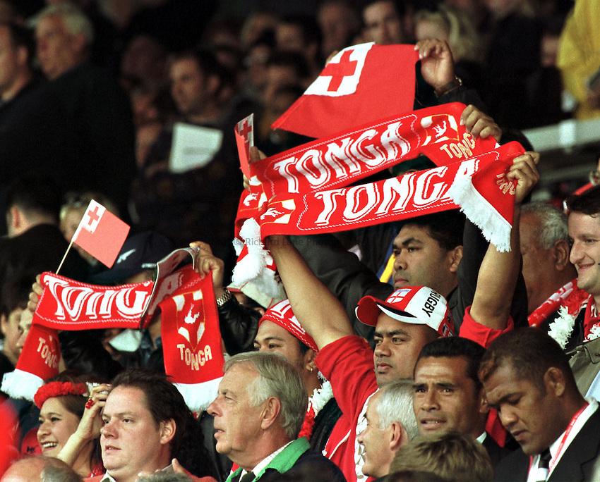 Photo. Richard Lane.New Zealand v Tonga. 3/10/99..Tongan fans.