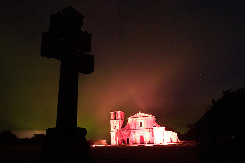 A theatrical night light and sound show illuminates the crumbling façade of the church at the ruins of the São Miguel mission in southern Brazil. Scores of Jesuit missions in the area where Paraguay, Argentina and Brazil meet were built in the 17th century and abandoned when the Jesuits were expelled in the 18th century. Ruins of some of these missions still haunt hilltops in the region. (Kevin Moloney for the New York Times)