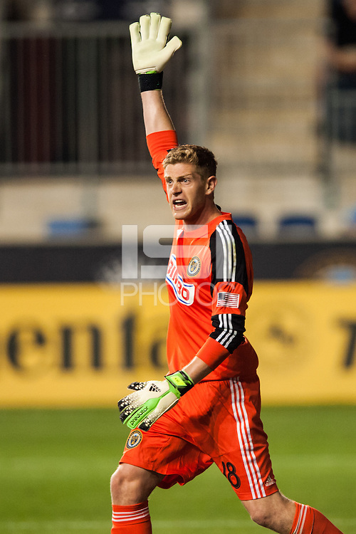 Philadelphia Union goalkeeper Zac MacMath (18). The Philadelphia Union defeated the Columbus Crew 3-0 during a Major League Soccer (MLS) match at PPL Park in Chester, PA, on June 5, 2013.