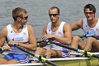 Amsterdam, NETHERLANDSS, GBR M4X. right to left, Stewart INNES, Jack HOCKLEY and John COLLINS.  2011 FISA U23 World Rowing Championships, {dow}, {date} [Mandatory credit:  Intersport Images].