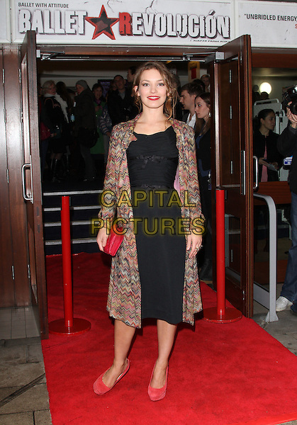 Perdita Weeks.The 'Ballet Revolucion' VIP night, Peacock theatre, Portugal St., London, England..April 25th, 2012.full length dress black pink shoes clutch bag print coat.CAP/ROS.©Steve Ross/Capital Pictures