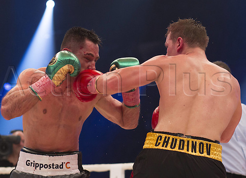 20.02.2016. OBERHAUSEN, Germany. WBA Super middleweight title fight. Felix Sturm (contender) versus Fedor Chudinov (Russia) Sturm, in grey shorts, won on a points decision to regain his world title.