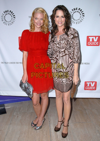 "JAIMIE KING & PAULA MARSHALL.CBS Fall Preview for ""Gary Unmarried"", held at The Paley Center for Media, Beverly Hills, California, USA..September 9th, 2008.full length brown cream pattern pink jaime jamie red dress silver clutch bag shoes .CAP/ADM/FS.©Faye Sadou/AdMedia/Capital Pictures."