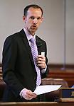 Nevada Sen. Justin Jones, D-Las Vegas, speaks on the Senate floor at the Legislative Building in Carson City, Nev., on Monday, April 1, 2013..Photo by Cathleen Allison