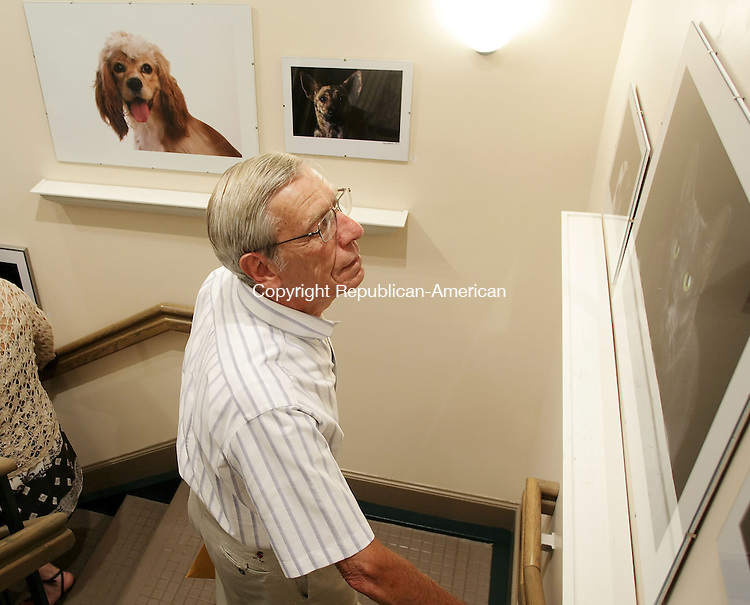 WASHINGTON, CT-- 21 July 2007--072107TJ08- Ernest Simo Craig Lifland, right, from New Milford, Conn., studies prints in Sally Anderson-Bruce's display as Kelsey Lord and Tom Brant, at bottom, pass through the stairway gallery at the Gunn Memorial Library and Museum in Washington on Saturday, July 21, 2007. T.J. Kirkpatrick / Republican-American