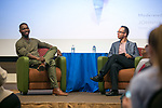 Tarell Alvin McCraney and Johnny LaSalle discuss the movie Moonlight during An Evening with Tarell Alvin McCraney, Friday, April 21, 2017 in the Lincoln Park Student Center. (Photo by Diane M. Smutny)