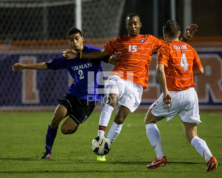 The number 24 ranked Furman Paladins took on the number 20 ranked Clemson Tigers in an inter-conference game at Clemson's Riggs Field.  Furman defeated Clemson 2-1.  Tony Santibanez (2), Alexandra Rome'o Happi (15), Jack Metcalf (4)