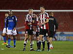 Paul Coutts of Sheffield Utd and John Fleck of Sheffield Utd  enjoy the win during the English League One match at Bramall Lane Stadium, Sheffield. Picture date: December 10th, 2016. Pic Simon Bellis/Sportimage