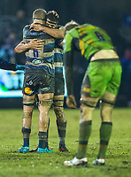 Bath Rugby's Tom Ellis and Josh Bayliss congratulate at the final whistle<br /> <br /> Photographer Bob Bradford/CameraSport<br /> <br /> Anglo-Welsh Cup Semi Final - Bath Rugby v  Northampton Saints - Friday 9th March 2018 - The Recreation Ground - Bath<br /> <br /> World Copyright &copy; 2018 CameraSport. All rights reserved. 43 Linden Ave. Countesthorpe. Leicester. England. LE8 5PG - Tel: +44 (0) 116 277 4147 - admin@camerasport.com - www.camerasport.com