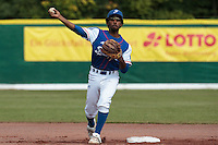 30 july 2010: Felix Brown of France throws the ball to first base during Sweden 3-2 win over France, in day 6 of the 2010 European Championship Seniors, at TV Cannstatt ballpark, in Stuttgart, Germany.