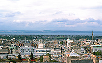 Edinburgh: From Tower, looking North to New City and beyond it, The Forth, straight ahead, roof of Royal Scottish Academy. Above it, Hanover St. Photo '87.