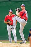 1 July 2005: John Patterson, pitcher for the Washington Nationals, takes some warmup pitches with pitching coach Randy St. Claire watching on, prior to a game against the Chicago Cubs. The visiting Nationals defeated the Cubs 4-3 at Wrigley Field in Chicago.  Mandatory Photo Credit: Ed Wolfstein