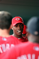 Aroldis Chapman. Cincinnati Reds. Chapman, who left his native Cuba to sign with the Reds, appears in his first spring training game against the Kansas City Royals at Goodyear, AZ - 03/08/2010. Chapman is greeted in the dugout by his teammates after pitching two scoreless innings..Photo by:  Bill Mitchell/Four Seam Images.